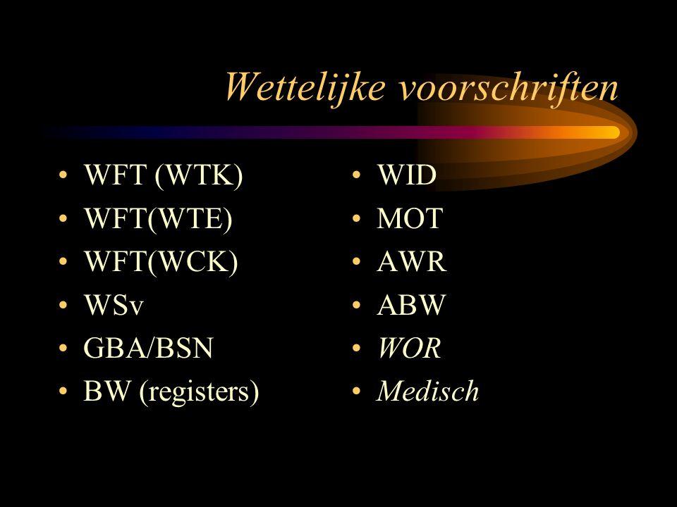 Wettelijke voorschriften WFT (WTK) WFT(WTE) WFT(WCK) WSv GBA/BSN BW (registers) WID MOT AWR ABW WOR Medisch