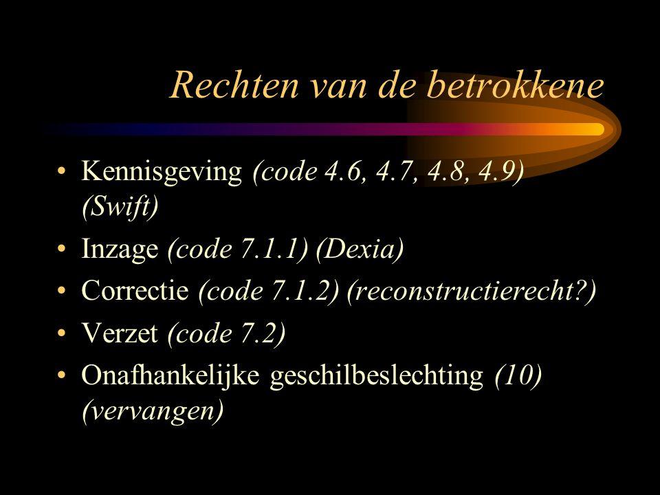 Rechten van de betrokkene Kennisgeving (code 4.6, 4.7, 4.8, 4.9) (Swift) Inzage (code 7.1.1) (Dexia) Correctie (code 7.1.2) (reconstructierecht ) Verzet (code 7.2) Onafhankelijke geschilbeslechting (10) (vervangen)