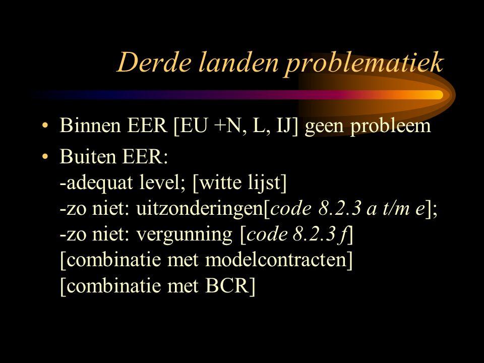 Derde landen problematiek Binnen EER [EU +N, L, IJ] geen probleem Buiten EER: -adequat level; [witte lijst] -zo niet: uitzonderingen[code 8.2.3 a t/m e]; -zo niet: vergunning [code 8.2.3 f] [combinatie met modelcontracten] [combinatie met BCR]