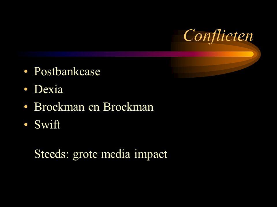 Conflicten Postbankcase Dexia Broekman en Broekman Swift Steeds: grote media impact