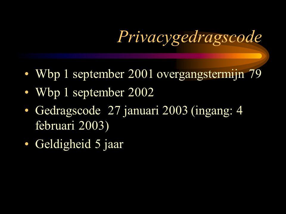 Privacygedragscode Wbp 1 september 2001 overgangstermijn 79 Wbp 1 september 2002 Gedragscode 27 januari 2003 (ingang: 4 februari 2003) Geldigheid 5 jaar