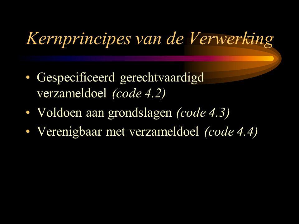 Kernprincipes van de Verwerking Gespecificeerd gerechtvaardigd verzameldoel (code 4.2) Voldoen aan grondslagen (code 4.3) Verenigbaar met verzameldoel (code 4.4)