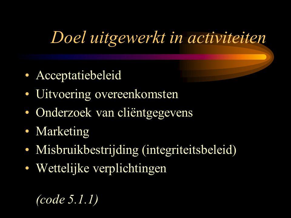 Doel uitgewerkt in activiteiten Acceptatiebeleid Uitvoering overeenkomsten Onderzoek van cliëntgegevens Marketing Misbruikbestrijding (integriteitsbeleid) Wettelijke verplichtingen (code 5.1.1)