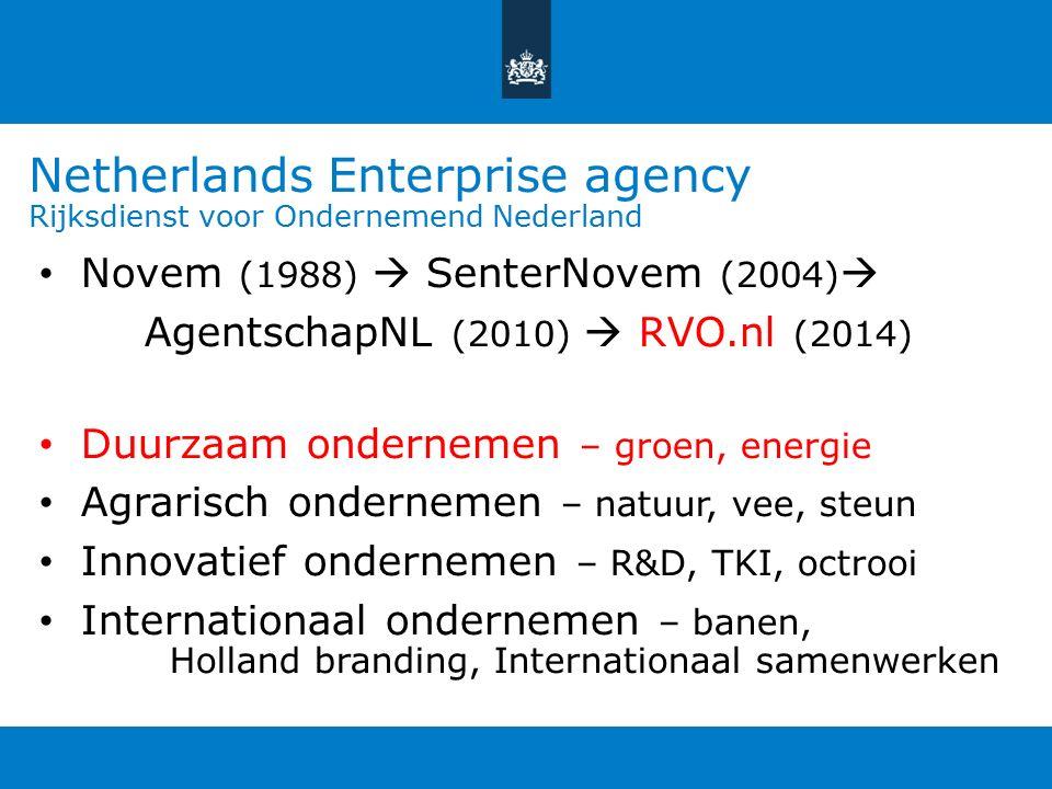 Netherlands Enterprise agency Rijksdienst voor Ondernemend Nederland Novem (1988)  SenterNovem (2004)  AgentschapNL (2010)  RVO.nl (2014) Duurzaam