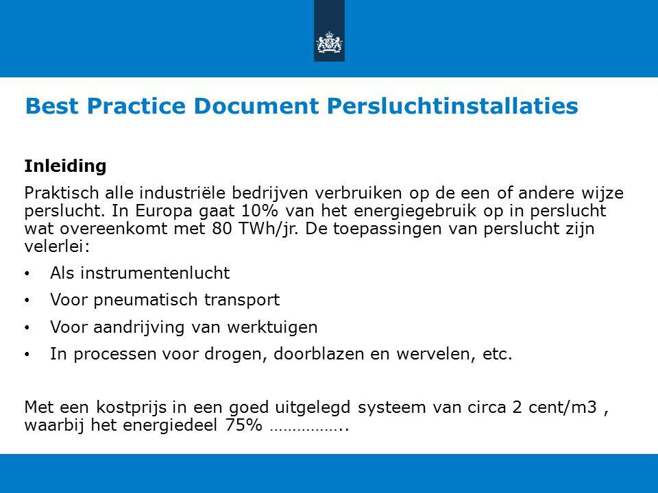 Best Practice Document Persluchtinstallaties Inleiding Praktisch alle industriële bedrijven verbruiken op de een of andere wijze perslucht. In Europa