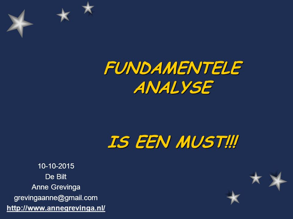 FUNDAMENTELE ANALYSE IS EEN MUST!!.