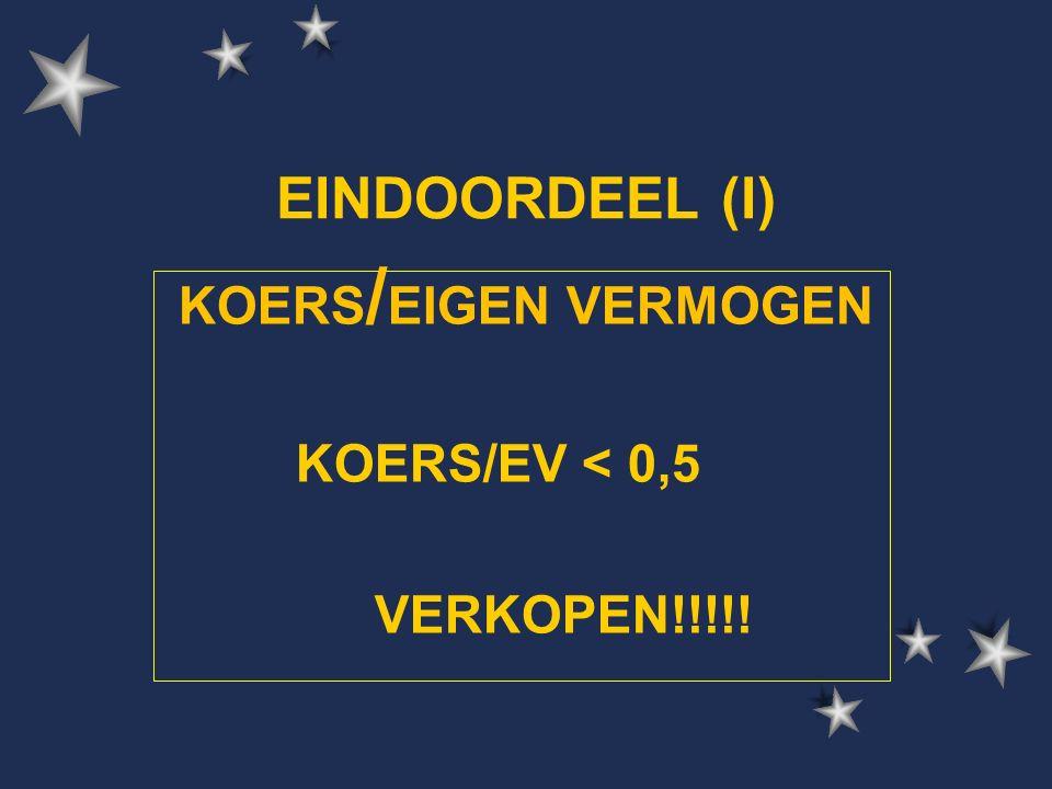 EINDOORDEEL (I) KOERS / EIGEN VERMOGEN KOERS/EV < 0,5 VERKOPEN!!!!!