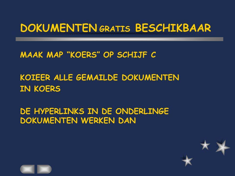 DOKUMENTEN GRATIS BESCHIKBAAR MAAK MAP KOERS OP SCHIJF C KOIEER ALLE GEMAILDE DOKUMENTEN IN KOERS DE HYPERLINKS IN DE ONDERLINGE DOKUMENTEN WERKEN DAN