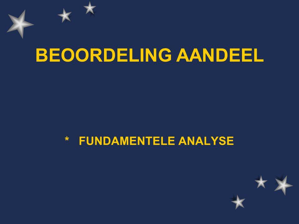 BEOORDELING AANDEEL * FUNDAMENTELE ANALYSE