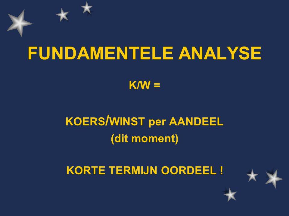 K/W = KOERS / WINST per AANDEEL (dit moment) KORTE TERMIJN OORDEEL !