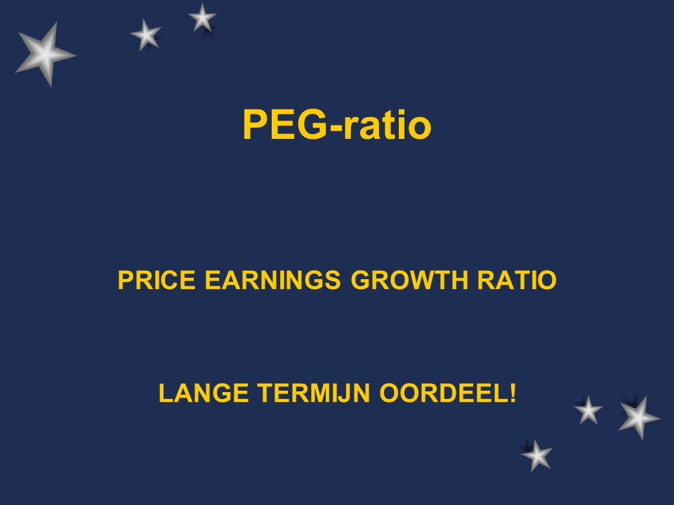 PEG-ratio PRICE EARNINGS GROWTH RATIO LANGE TERMIJN OORDEEL!