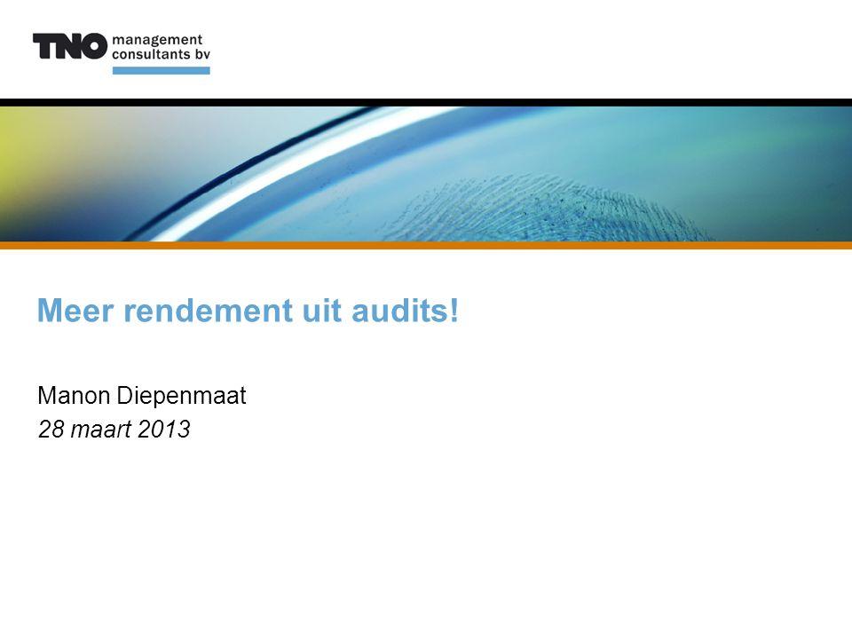 Meer rendement uit audits! Manon Diepenmaat 28 maart 2013