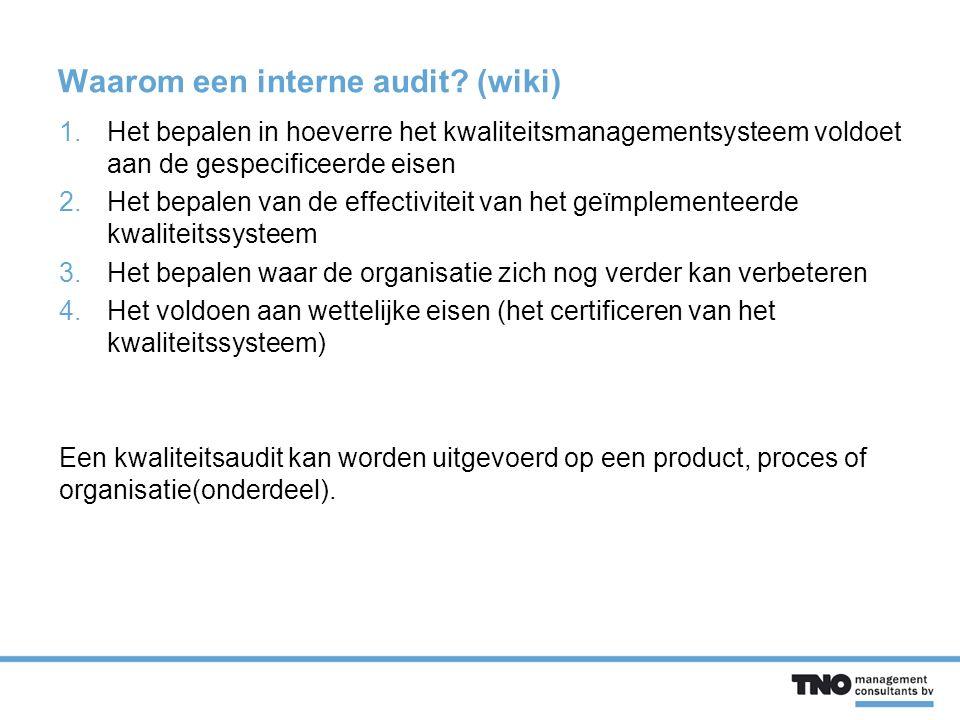Waarom een interne audit.