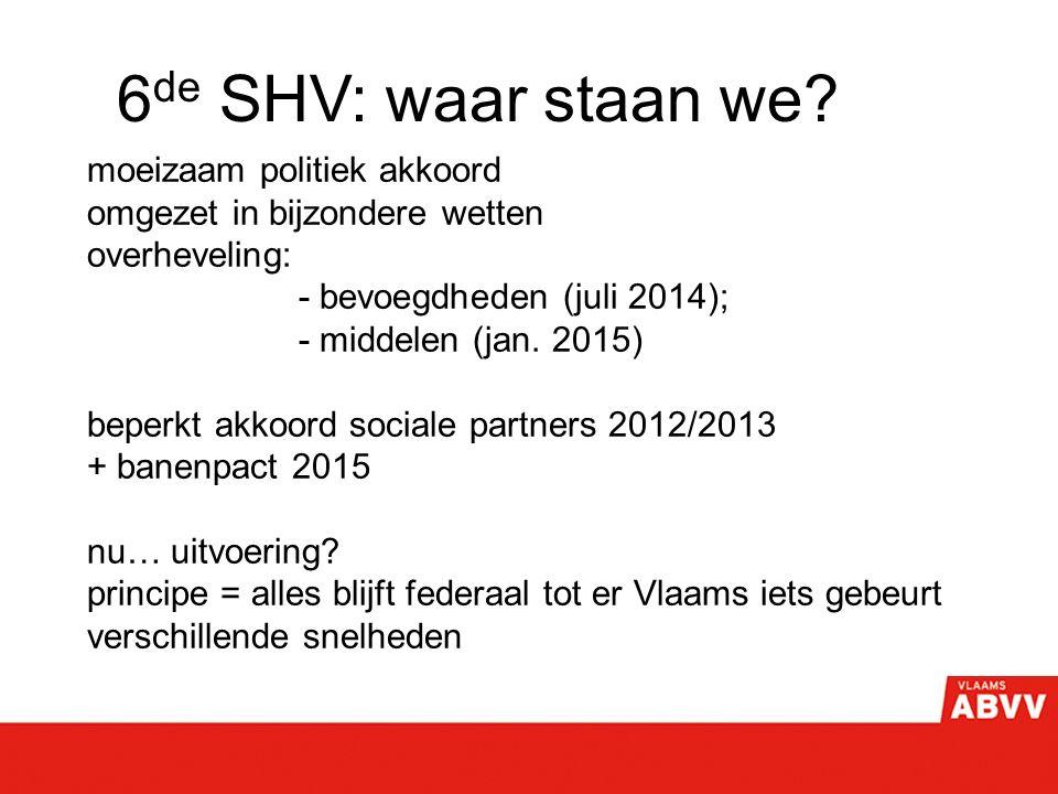 6 de SHV: waar staan we? moeizaam politiek akkoord omgezet in bijzondere wetten overheveling: - bevoegdheden (juli 2014); - middelen (jan. 2015) beper