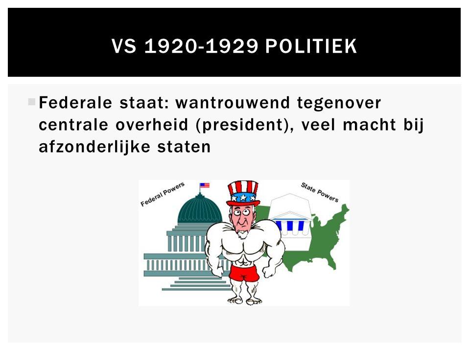  Federale staat: wantrouwend tegenover centrale overheid (president), veel macht bij afzonderlijke staten VS 1920-1929 POLITIEK