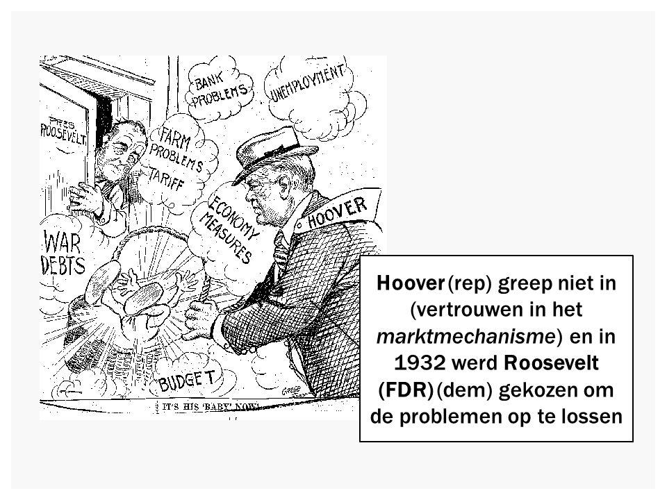 Hoover (rep) greep niet in (vertrouwen in het marktmechanisme) en in 1932 werd Roosevelt (FDR) (dem) gekozen om de problemen op te lossen