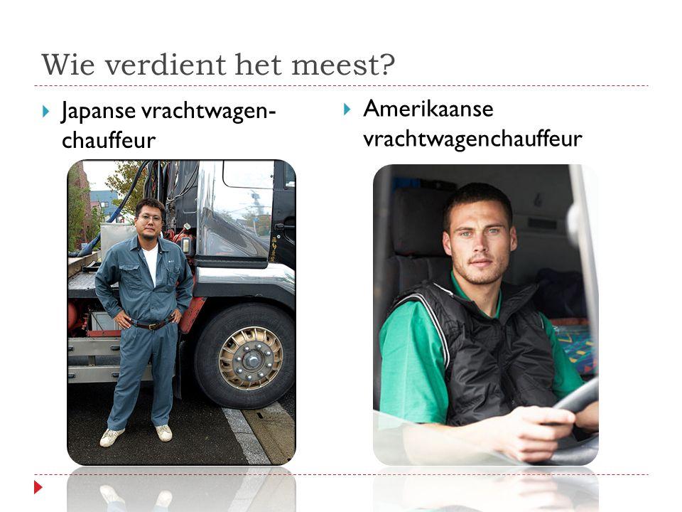 Wie verdient het meest  Japanse vrachtwagen- chauffeur  Amerikaanse vrachtwagenchauffeur