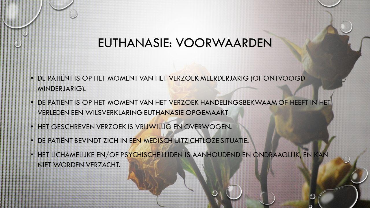 EUTHANASIE: VOORWAARDEN DE PATIËNT IS OP HET MOMENT VAN HET VERZOEK MEERDERJARIG (OF ONTVOOGD MINDERJARIG).