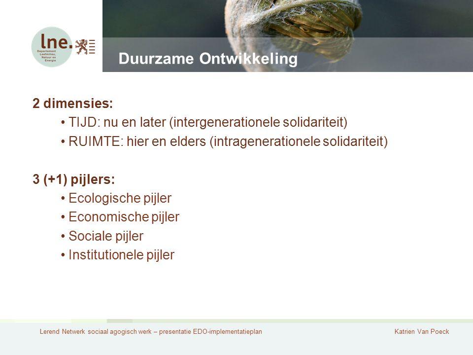 Lerend Netwerk sociaal agogisch werk – presentatie EDO-implementatieplanKatrien Van Poeck Duurzame Ontwikkeling 2 dimensies: TIJD: nu en later (interg