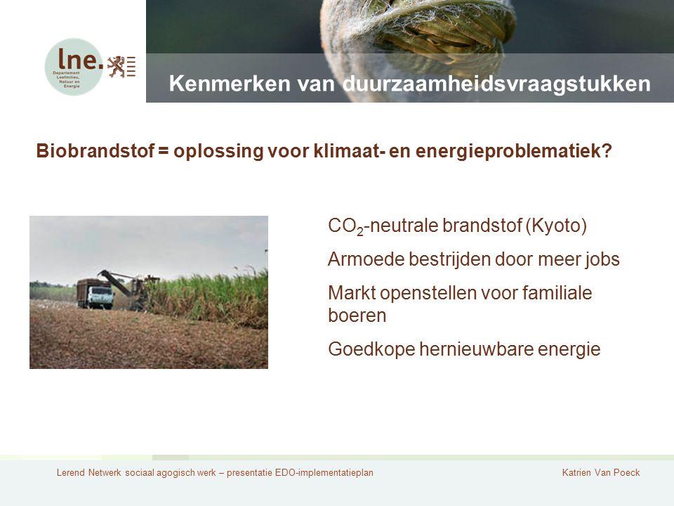 Lerend Netwerk sociaal agogisch werk – presentatie EDO-implementatieplanKatrien Van Poeck Kenmerken van duurzaamheidsvraagstukken Biobrandstof = oplos