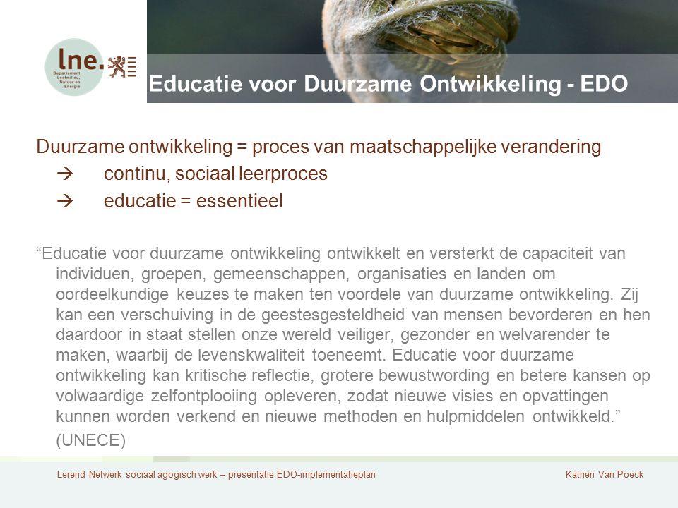 Lerend Netwerk sociaal agogisch werk – presentatie EDO-implementatieplanKatrien Van Poeck Educatie voor Duurzame Ontwikkeling - EDO Duurzame ontwikkel