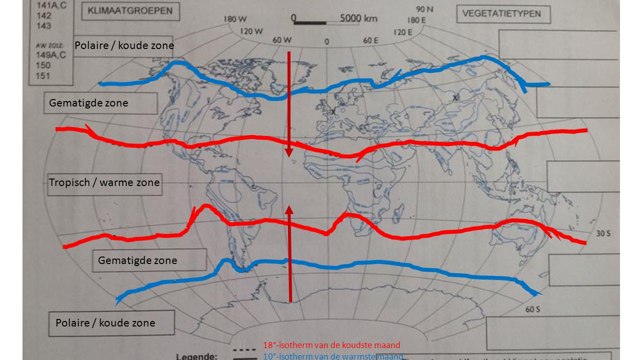 18°-isotherm van de koudste maand 10°-isotherm van de warmste maand Tropisch / warme zone Polaire / koude zone Gematigde zone