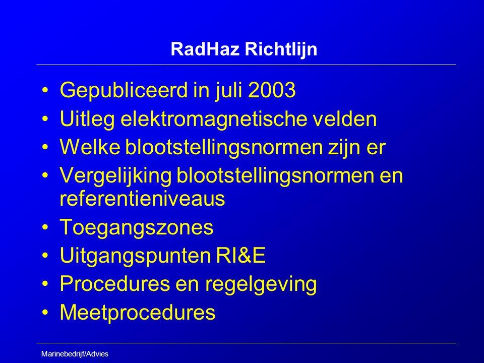 Marinebedrijf/Advies RadHaz Richtlijn Gepubliceerd in juli 2003 Uitleg elektromagnetische velden Welke blootstellingsnormen zijn er Vergelijking blootstellingsnormen en referentieniveaus Toegangszones Uitgangspunten RI&E Procedures en regelgeving Meetprocedures