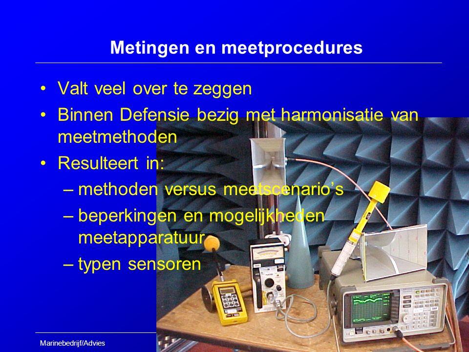 Marinebedrijf/Advies Metingen en meetprocedures Valt veel over te zeggen Binnen Defensie bezig met harmonisatie van meetmethoden Resulteert in: –methoden versus meetscenario's –beperkingen en mogelijkheden meetapparatuur –typen sensoren