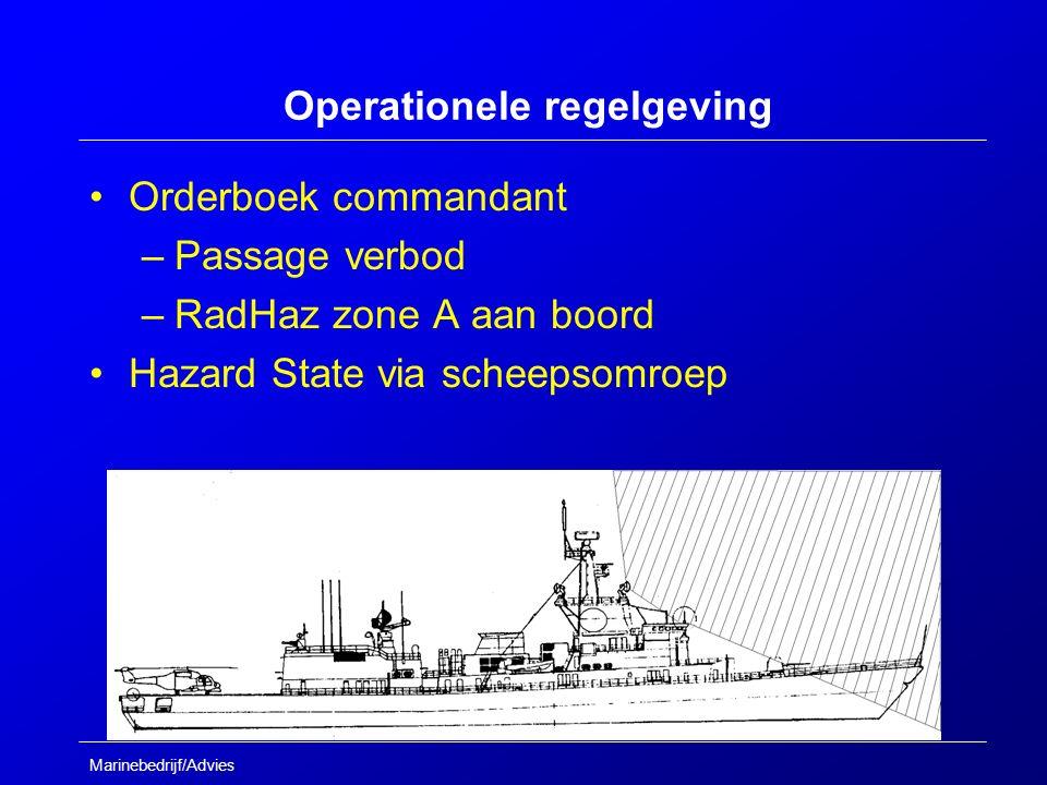 Marinebedrijf/Advies Operationele regelgeving Orderboek commandant –Passage verbod –RadHaz zone A aan boord Hazard State via scheepsomroep