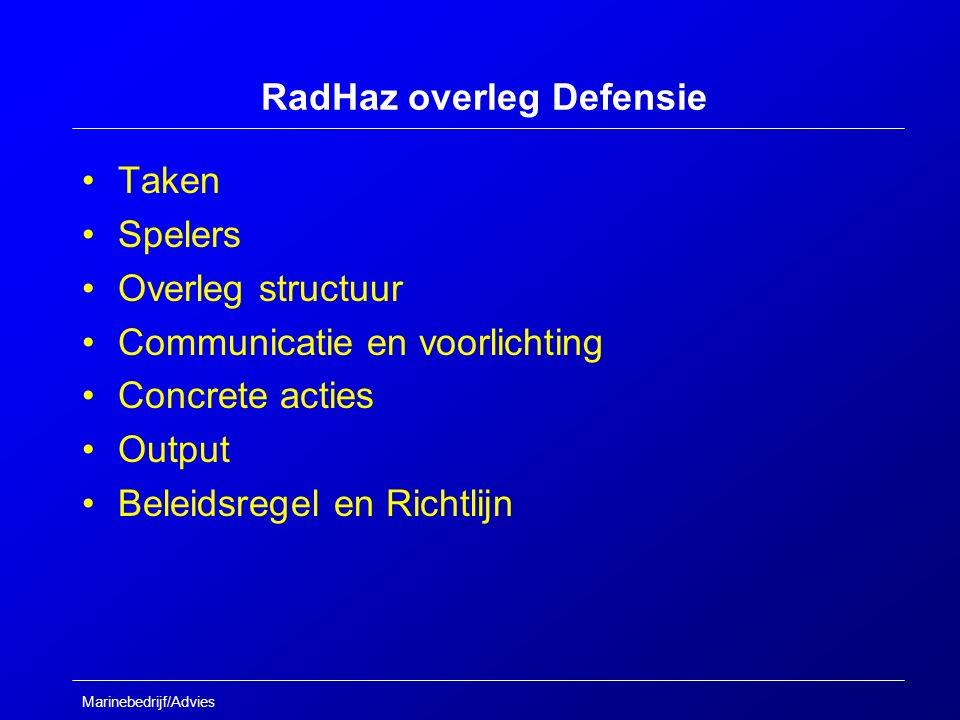 Marinebedrijf/Advies RadHaz overleg Defensie Taken Spelers Overleg structuur Communicatie en voorlichting Concrete acties Output Beleidsregel en Richtlijn