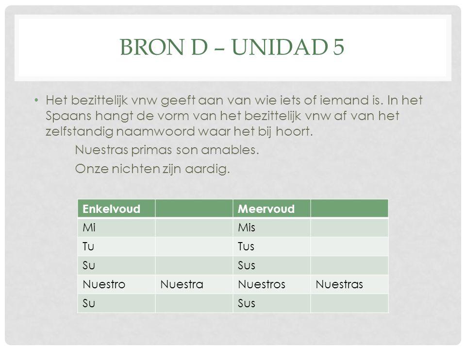 BRON D – UNIDAD 5 Het bezittelijk vnw geeft aan van wie iets of iemand is.
