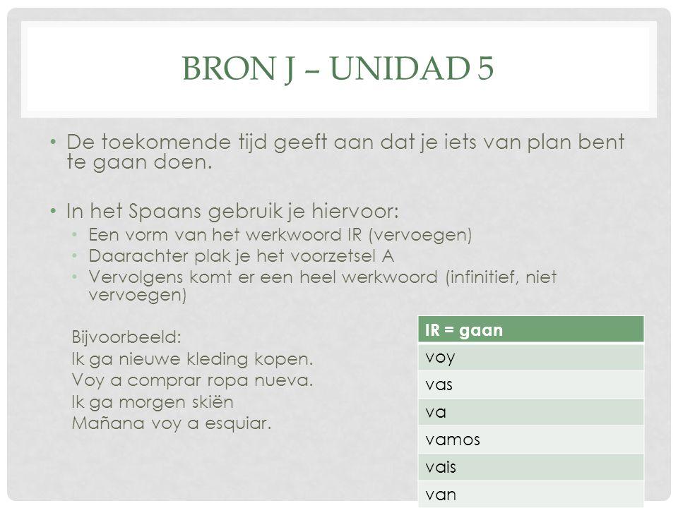 BRON J – UNIDAD 5 De toekomende tijd geeft aan dat je iets van plan bent te gaan doen.