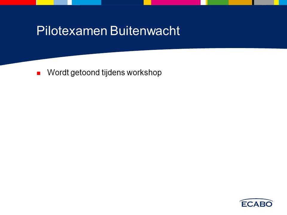 Pilotexamen Buitenwacht Wordt getoond tijdens workshop