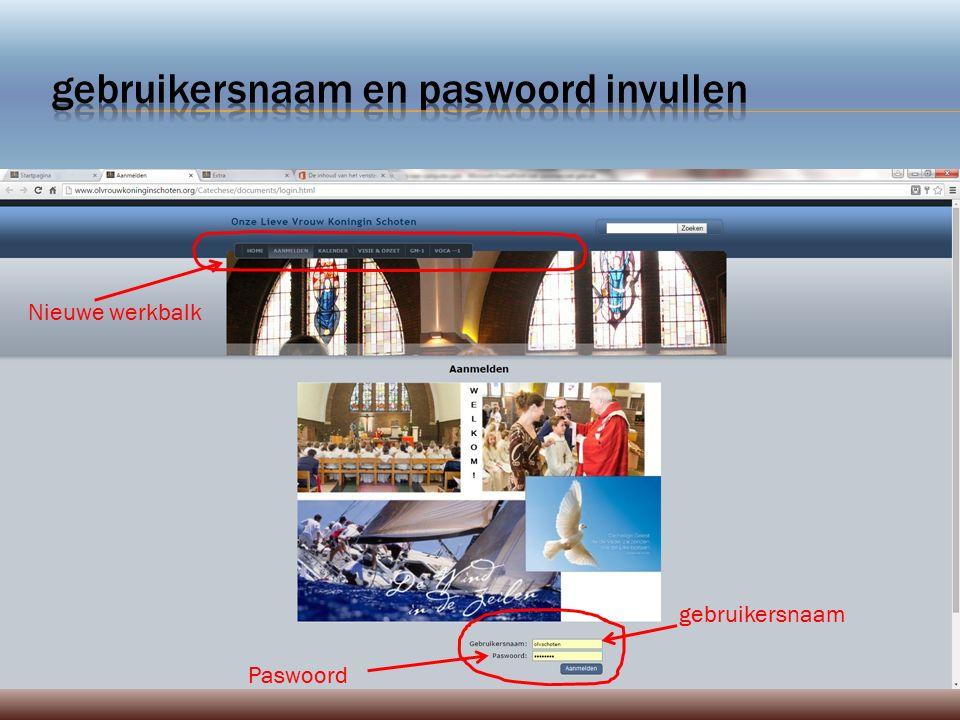 gebruikersnaam Paswoord Nieuwe werkbalk