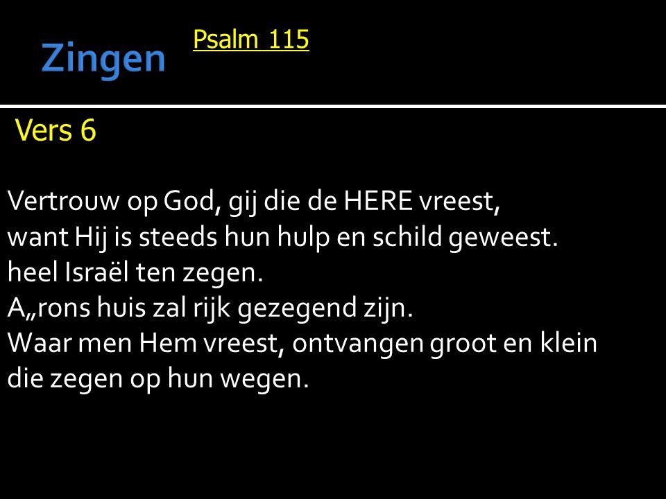 Psalm 115 Vers 6 Vertrouw op God, gij die de HERE vreest, want Hij is steeds hun hulp en schild geweest.