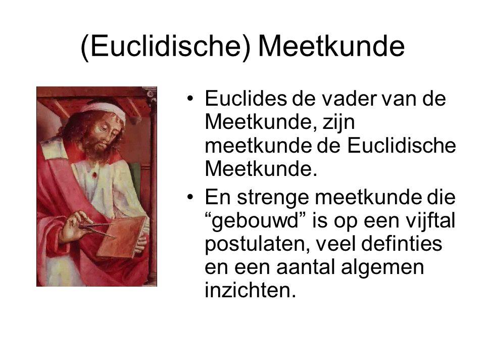 (Euclidische) Meetkunde Euclides de vader van de Meetkunde, zijn meetkunde de Euclidische Meetkunde.