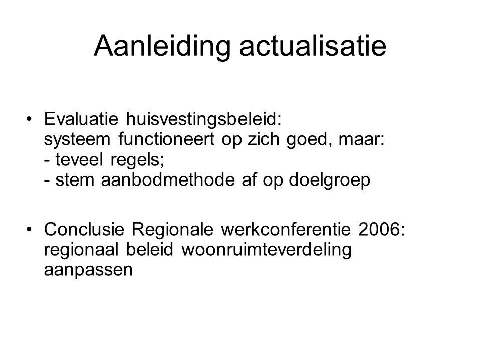 Aanleiding actualisatie Evaluatie huisvestingsbeleid: systeem functioneert op zich goed, maar: - teveel regels; - stem aanbodmethode af op doelgroep Conclusie Regionale werkconferentie 2006: regionaal beleid woonruimteverdeling aanpassen