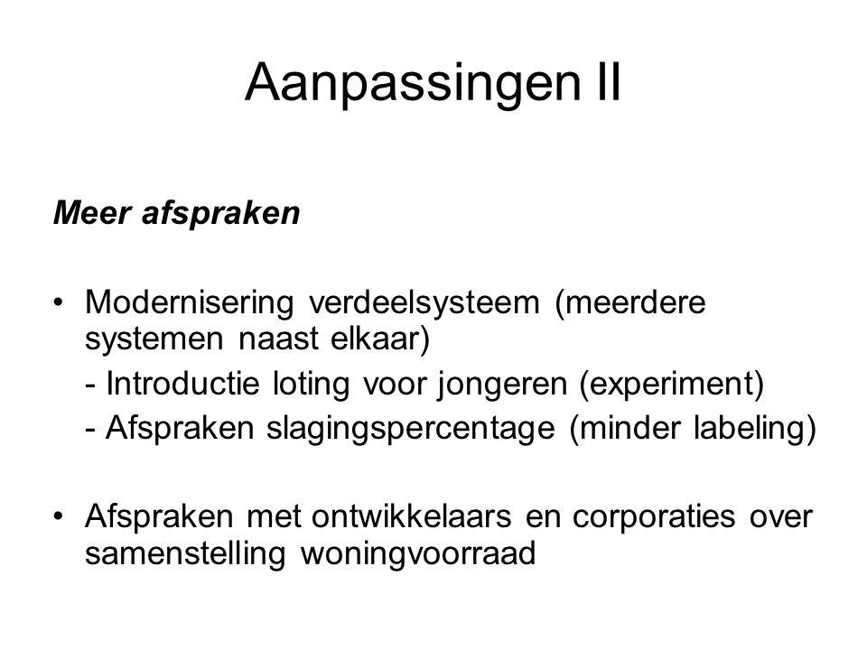 Aanpassingen II Meer afspraken Modernisering verdeelsysteem (meerdere systemen naast elkaar) - Introductie loting voor jongeren (experiment) - Afsprak