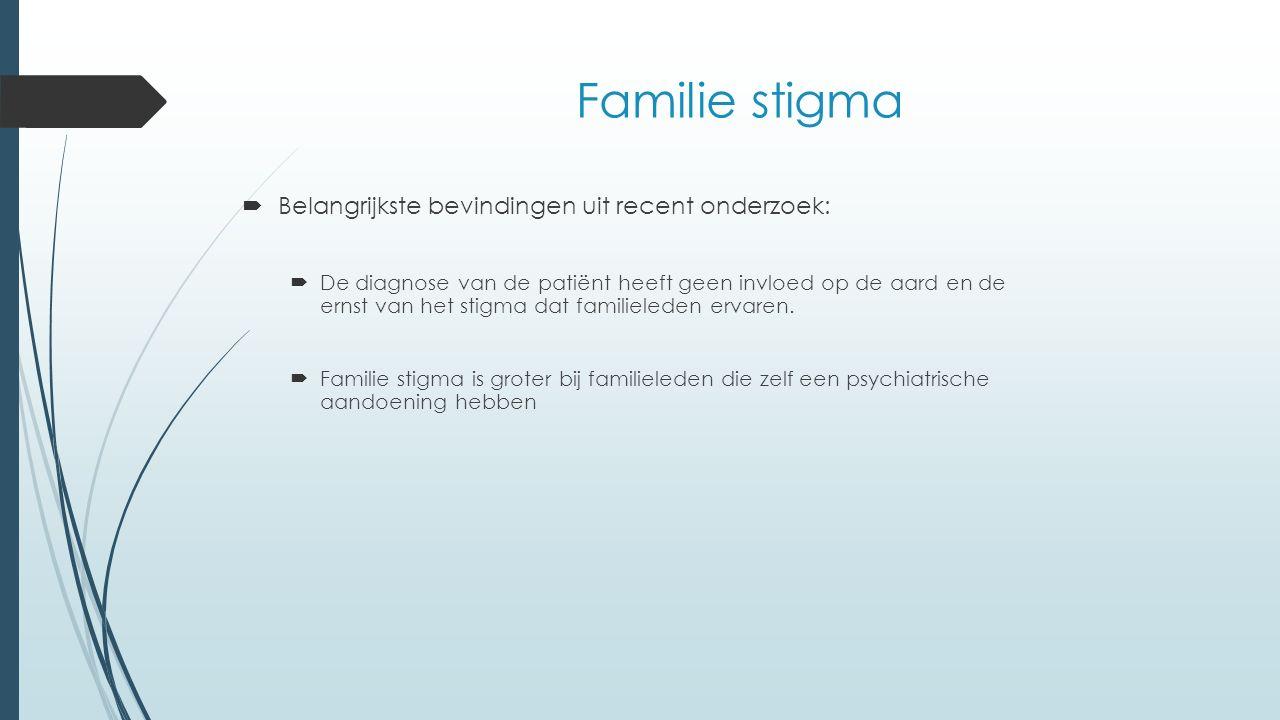 Familie stigma  Belangrijkste bevindingen uit recent onderzoek:  De diagnose van de patiënt heeft geen invloed op de aard en de ernst van het stigma dat familieleden ervaren.