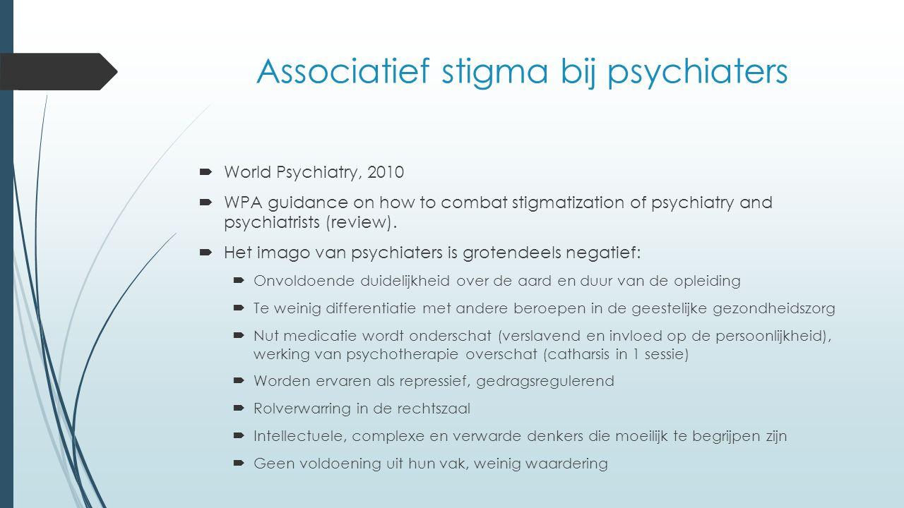 Associatief stigma bij psychiaters  World Psychiatry, 2010  WPA guidance on how to combat stigmatization of psychiatry and psychiatrists (review).