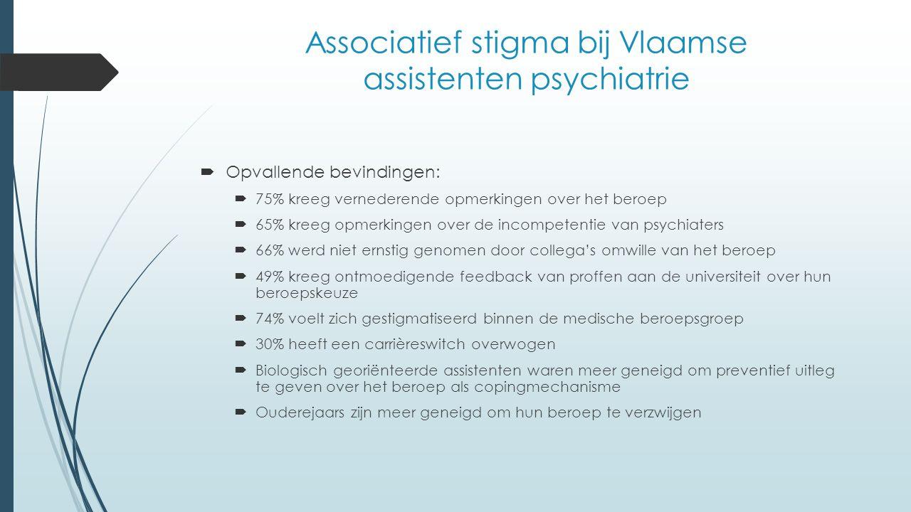 Associatief stigma bij Vlaamse assistenten psychiatrie  Opvallende bevindingen:  75% kreeg vernederende opmerkingen over het beroep  65% kreeg opmerkingen over de incompetentie van psychiaters  66% werd niet ernstig genomen door collega's omwille van het beroep  49% kreeg ontmoedigende feedback van proffen aan de universiteit over hun beroepskeuze  74% voelt zich gestigmatiseerd binnen de medische beroepsgroep  30% heeft een carrièreswitch overwogen  Biologisch georiënteerde assistenten waren meer geneigd om preventief uitleg te geven over het beroep als copingmechanisme  Ouderejaars zijn meer geneigd om hun beroep te verzwijgen