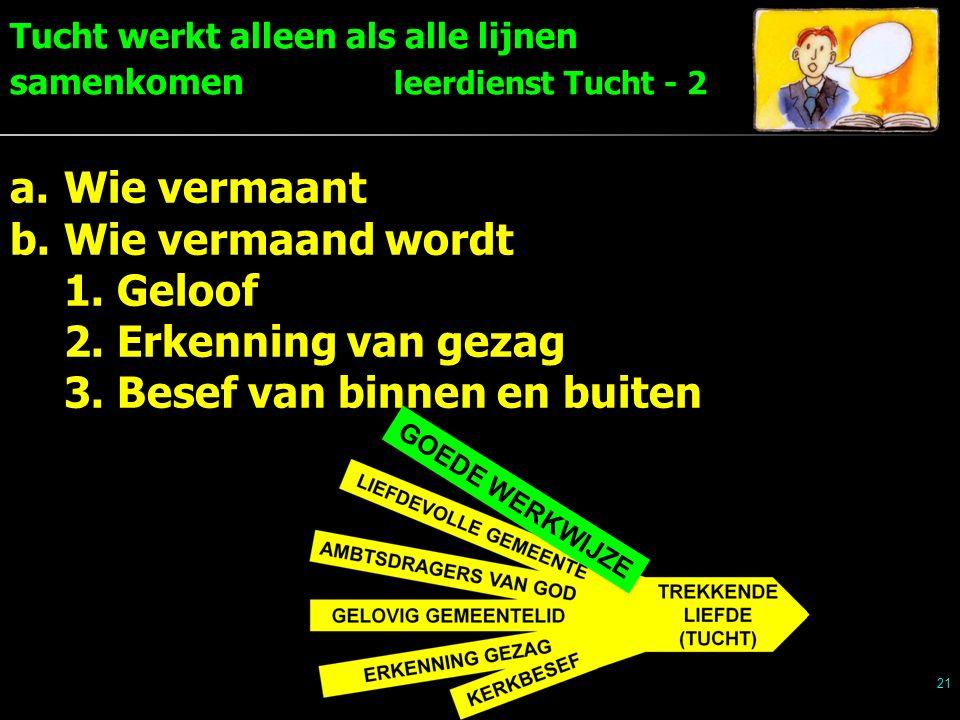 Tucht werkt alleen als alle lijnen samenkomen leerdienst Tucht - 2 21 a.Wie vermaant b.Wie vermaand wordt 1.