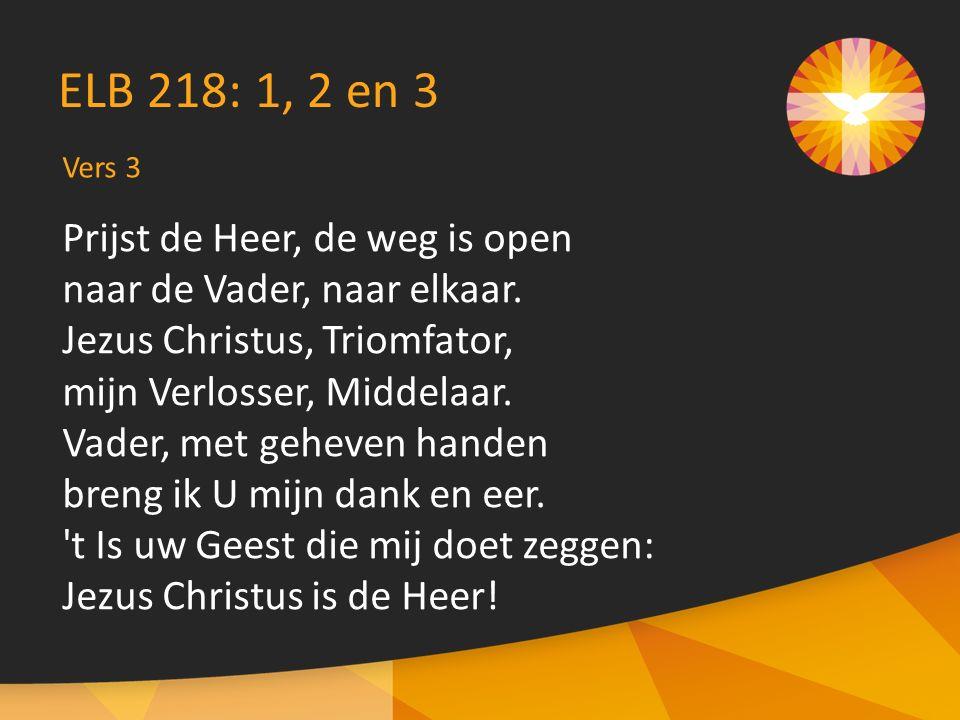 Prijst de Heer, de weg is open naar de Vader, naar elkaar. Jezus Christus, Triomfator, mijn Verlosser, Middelaar. Vader, met geheven handen breng ik U