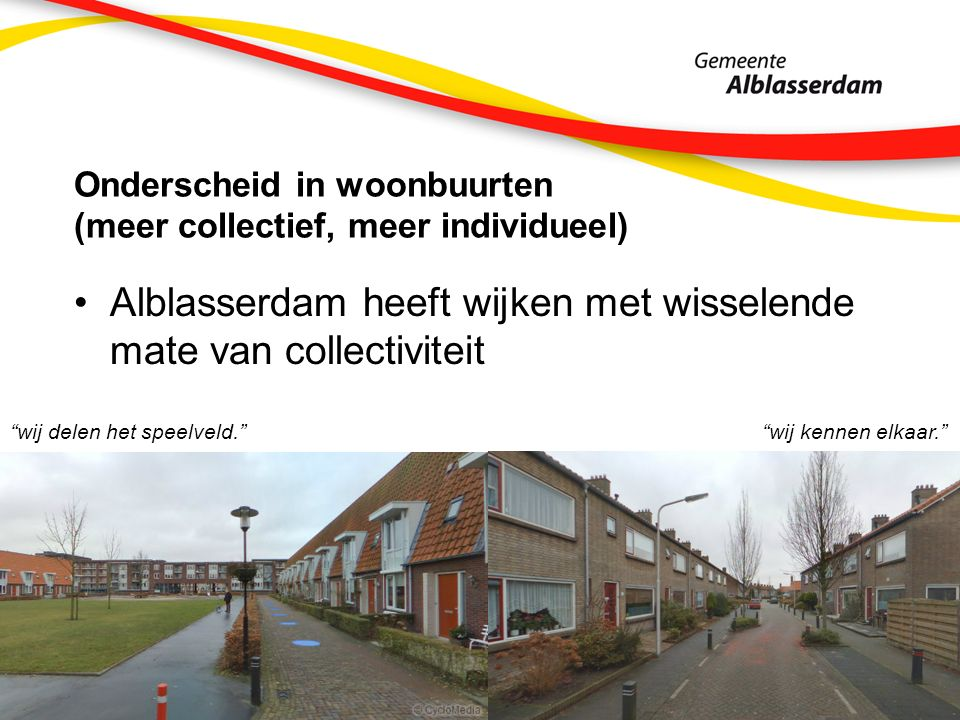 Onderscheid in woonbuurten (meer collectief, meer individueel) Alblasserdam heeft wijken met wisselende mate van collectiviteit wij delen het speelveld. wij kennen elkaar.