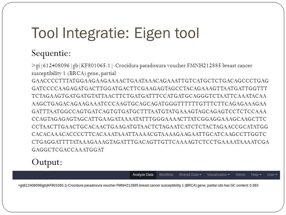 Tool Integratie: Eigen tool Sequentie: >gi|612408096|gb|KF801065.1| Crocidura paradoxura voucher FMNH212885 breast cancer susceptibility 1 (BRCA) gene