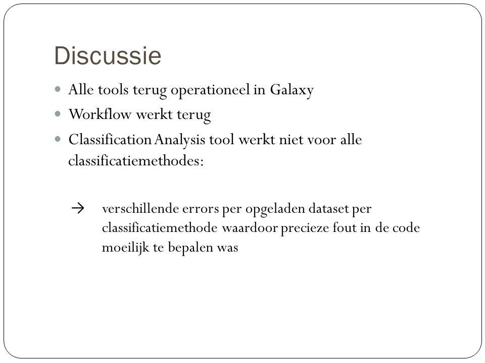 Discussie Alle tools terug operationeel in Galaxy Workflow werkt terug Classification Analysis tool werkt niet voor alle classificatiemethodes: → vers