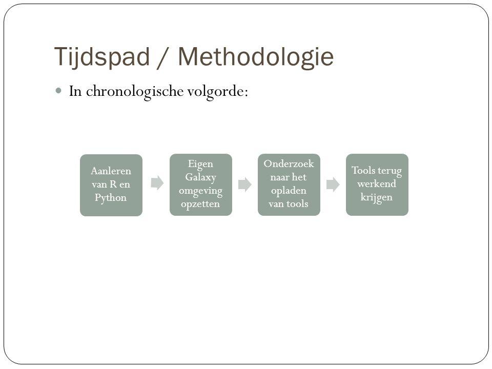 Tijdspad / Methodologie In chronologische volgorde: Aanleren van R en Python Eigen Galaxy omgeving opzetten Onderzoek naar het opladen van tools Tools