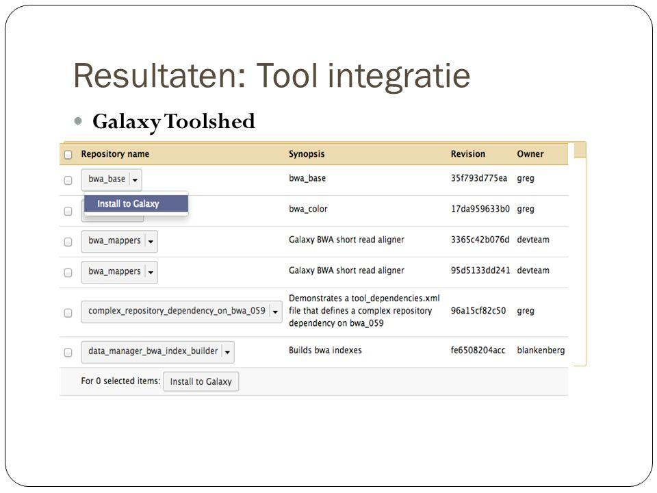 Resultaten: Tool integratie Installeren van eigen tool Benodigdheden: Dezelfde bestandsmap .