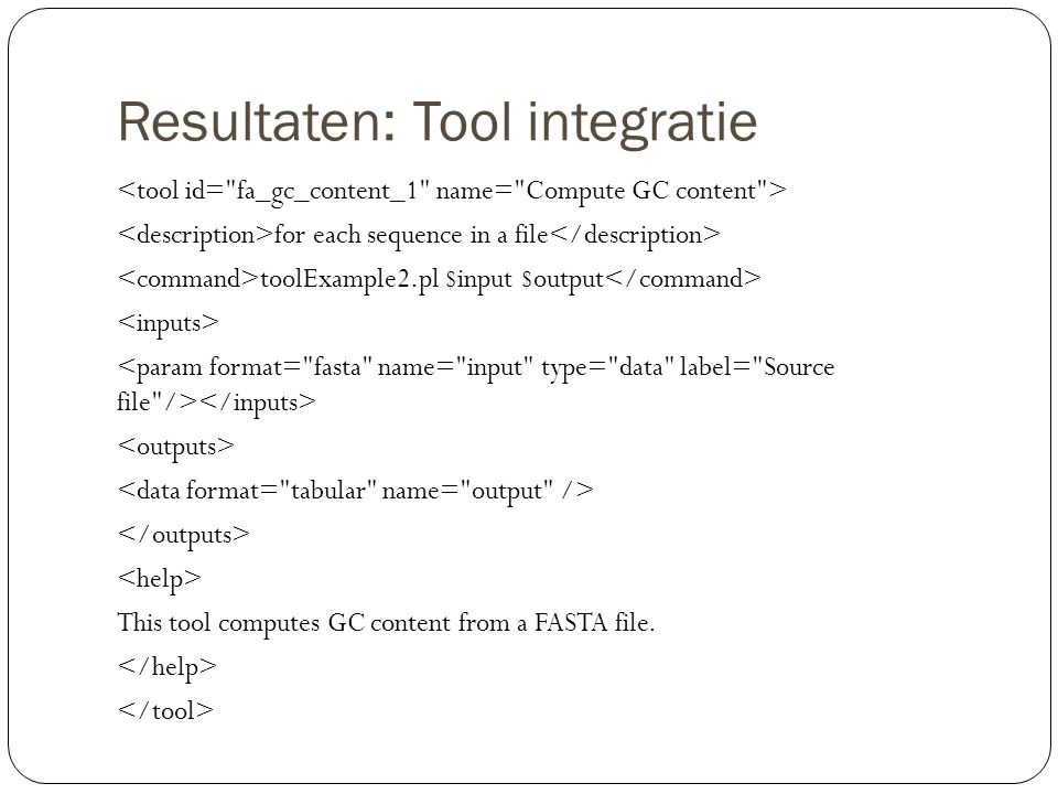 Tool Integration: Eigen tool GC-teller van een willekeurige sequentie in FASTA formaat