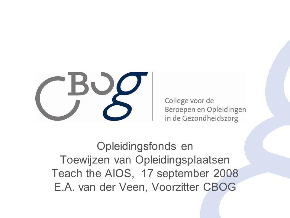 Opleidingsfonds en Toewijzen van Opleidingsplaatsen Teach the AIOS, 17 september 2008 E.A.